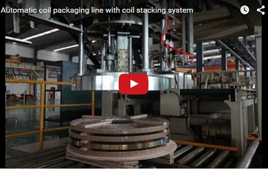 coil packaging line with stracking system