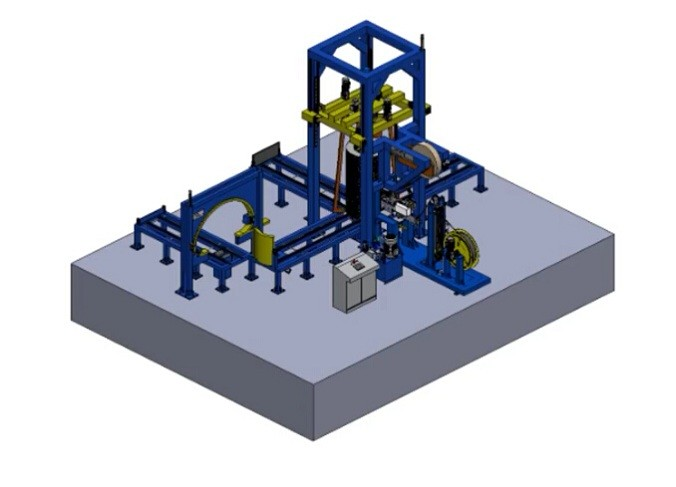 Wire coil compactor and strapping line