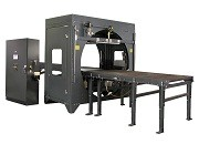 Horizontal orbital stretch wrapping machine