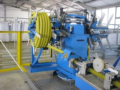 automatic hydraulic hose coiling machine with strapping machine