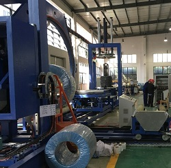 Automatic wire coil compressing and strapping packing line